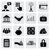 Bank & finance icons(signs) related to money, wealth- vector gra — Stockvector