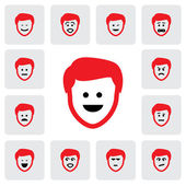 Different emotions & feelings of young man's face- vector graphi — Stock Vector