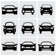 Compact and luxury passenger car icons(signs) front view- vecto — Vector de stock