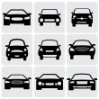 Compact and luxury passenger car icons(signs) front view- vecto — Stok Vektör
