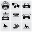 Stock Vector: Car wash icons(signs) set of cleaning car- vector graphic