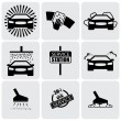 Car wash icons(signs) set of cleaning car- vector graphic — Stock Vector