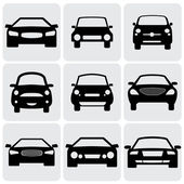 Compact and luxury passenger car icons(signs) front view- vecto — Stock Vector