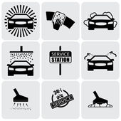 Car wash icons(signs) set of cleaning car- vector graphic — Stok Vektör