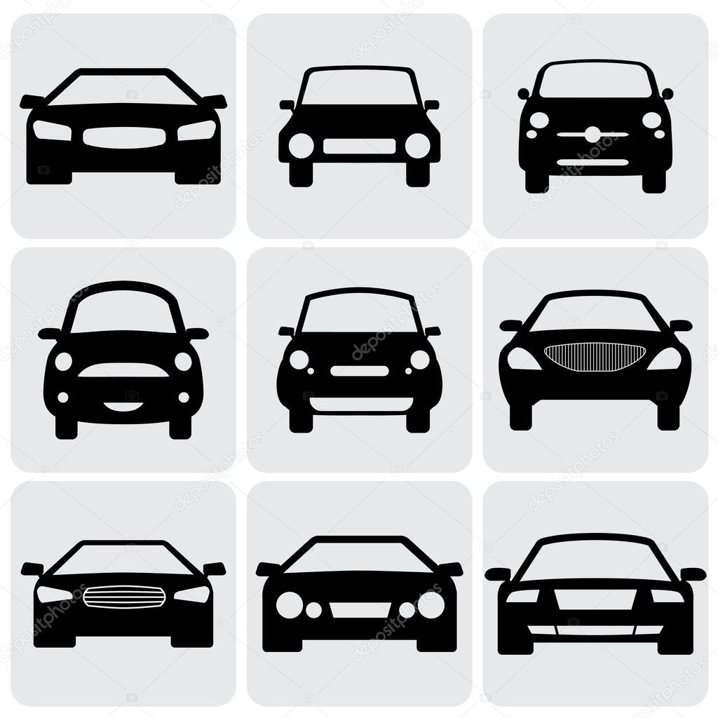Compact And Luxury Passenger Car Icons(signs) Front View