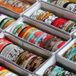 Collection of beautiful indian colorful bangles in vibrant color — Stock Photo