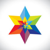 Abstract colorful star shape with six sides- vector graphic — Stock Vector