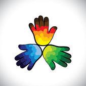 üç renkli sıçramalarına çocuğun elleri (yeşil, turuncu & mavi boya — Stok Vektör