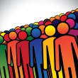 Abstract colorful group of people or workers or employees - conc — 图库矢量图片