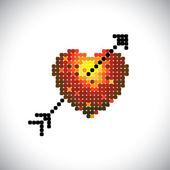 Kalp simgesi ile ok (siyah), kırmızı sarı & turuncu col seviyorum — Stok Vektör