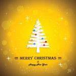 Merry christmas greeting card poster & xmas tree - concept vecto — Stock Vector #36632053
