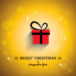 Merry christmas greeting card poster with gift icon - concept ve — Stock Vector
