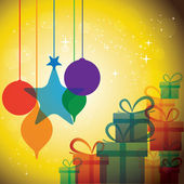Christmas festive celebrations with gift boxes & baubles - vecto — Vetorial Stock