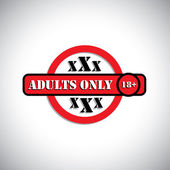 Xxx material with label as adult's only, 18 - concept vector — Stock Vector