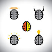 Vector icons of different types of brains like genius, creative — Stock Vector