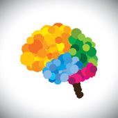 Vector icon of creative, brilliant & colorful painted brain — Stock Vector