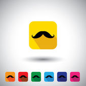 Flat design vector icon - black mustache symbol of manliness. — Stock Vector