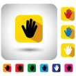 Hand or palm sign on button - flat design vector icon — Stock Vector