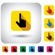 Hand cursor sign on button - flat design vector icon. — Stock Vector