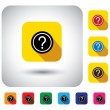 Question mark sign on button - flat design vector icon — Stock Vector