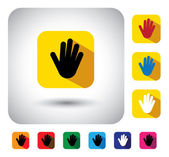 Hand or palm sign on button - flat design vector icon — Stockvektor