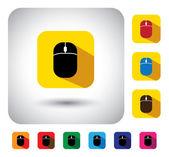 Computer mouse sign on button - flat design vector icon. — Stock Vector