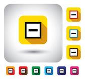Minus mark sign on button - flat design vector icon. — Stock Vector