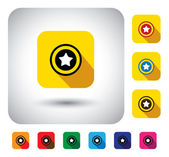 Star rating sign on button - flat design vector icon. — Stock Vector
