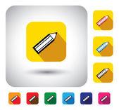 Pencil sign on button - flat design vector icon — Stock Vector