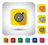 Target or aim sign on button - flat design vector icon — Stock Vector