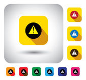 Caution message sign on button - flat design vector icon. — Stock Vector