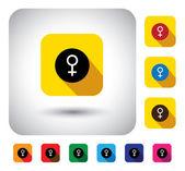 Firman el género femenino en botón - diseño plano vector icono — Vector de stock