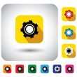 Gear or cogwheel icon on a flat design button - vector graphic. — Stock Vector