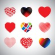 Vector hearts set of hand drawn abstract icons — Stock Vector