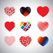 Vector hearts set of hand drawn abstract icons — Vector de stock