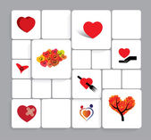 Colorful heart or love vector icons collection set. — Stock Vector