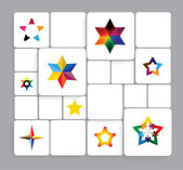 Colorful stars vector icons collection set. — Stock Vector