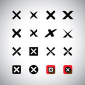 Vector icons set - cross marks, wrong choice or selection — Stock Vector