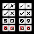Tick mark & cross sign vector icons set on black background — Stock Vector #43733763