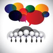 Biały kołnierzyk pracowników komunikacji, interakcji - koncepcja vect — Wektor stockowy