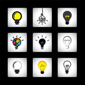Vector icons set of different idea light bulbs on black backgrou — Stock Vector