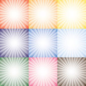 Sun rays collection set of vector background in different season — Stock Vector