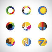 Trendy, stylish & colorful abstract circle icons set - vector gr — Stock Vector