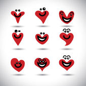 Happy, smiling, lively heart icons collection set - concept vect — Vettoriale Stock