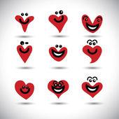 Coração feliz, sorridente, animada ícones coleção conjunto - conceito vect — Vetorial Stock