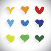 Flat designs of colorful heart shape icons - vector graphic — Stock Vector
