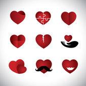 Conjunto de coleta de ícones de coração de estilo origami - conceito vetor graphi — Vetor de Stock