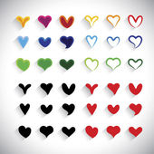 Flat design colorful heart icons collection set - vector graphic — 图库矢量图片