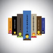 Leadership, teamwork, initiative & competence - concept vector — Stock Vector