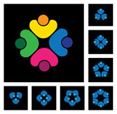 Concept of community unity, solidarity & people - vector icons — Stock Vector